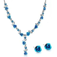 Stunning Rose Drop Necklace With Matching Earrings