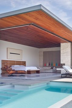 Artwork, bed, pool, timber .... actually, everything.