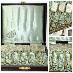 Antique Aesthetic Silver Vermeil Ice Cream Spoons in original silk box. Frenchgardenhouse.com