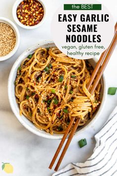 Easy dinners are the best dinners. These garlic sesame noodles are a healthy, vegan and gluten free recipe that takes just 15 minutes to make! It's perfect with some chicken, vegetables, tofu, or just as is. Vegan Dinners, Easy Dinners, Sesame Peanut Noodles, Cooking Recipes, Healthy Recipes, Pasta Recipes, Free Recipes, Healthy Meals, Tofu Noodles