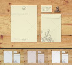 Stationery mock up on wood with 3 special effects. You can edit the design via smart object.