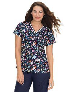 Women/'s Peaches Uniforms Valerie V-Neck Butterfly Print Scrub Top 4979-FYWG