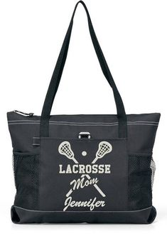 PLAYER NAME 20 Lacrosse MOM Sports Bag with Glitter or