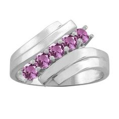10K White Gold Round 5-stone Mothers Ring (Size 7.5,Alexandrite), Women's, Pink