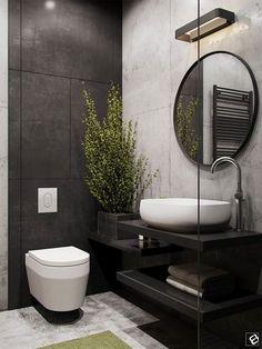 Banheiro parede preta e espelho