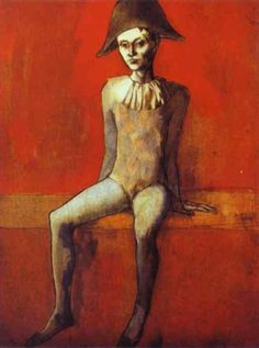 Seated harlequin, 1905 by Pablo Picasso, Rose Period. Art Picasso, Picasso Blue, Picasso Portraits, Picasso Paintings, Picasso Style, Georges Seurat, Georges Braque, Picasso Rose Period, Cubist Movement