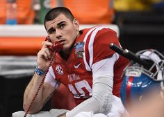 NEW ORLEANS, LA - JANUARY 01: Quarterback Chad Kelly #10 of the Mississippi Rebels is seen on the bench during the game against the Oklahoma State Cowboys during the third quarter of the Allstate Sugar Bowl at Mercedes-Benz Superdome on January 1, 2016 in New Orleans, Louisiana. (3000×2149)