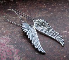 ANGEL WING EARRINGS Silver Dangle Wing