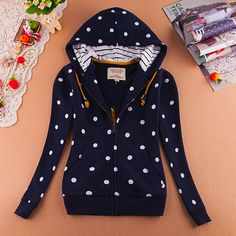 Style: sweet Pattern: dot Material: Cotton Color: white, dark blue Size: S; M; L S: Bust 86cm; Shoulder 38cm; Sleeve 58cm; Length 57cm M: Bust 90cm; Shoulder 39cm; Sleeve 59cm; Length 58cm L: Bust 94cm; Shoulder 40cm; Sleeve 60cm; Length 59cm