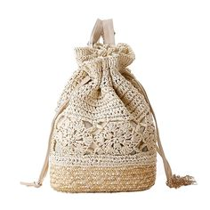 Cheap beach backpack, Buy Quality backpack designer directly from China designer backpack Suppliers: Crochet Beach Backpacks Summer Straw Bags Drawstring Floral Hollow Out Handmade Knitted Travel Bucket Design Women Sac A Dos Beach Backpack, Backpack Bags, Drawstring Backpack, Tote Bag, Rucksack Bag, Floral Backpack, Mochila Crochet, Sacs Design, Bag Women