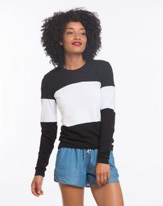 Colorblock Sweatshirt - Black and White – Marine Layer