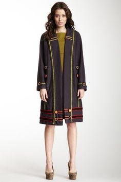 M Missoni Multicolor Crochet Wool Coat