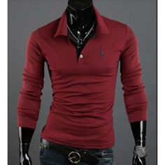 485ab56bb6 Playera Polo manga larga bordada Camisa Polo