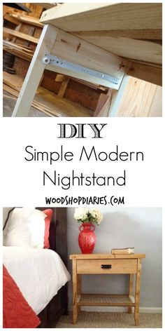 Easy to build simple modern nightstands with drawer and woven shelf--Great weekend project--Woodshop Diaries. Easy to build simple modern nightstands with drawer and woven shelf--Great weekend project--Woodshop Diaries. Click The Link For See Diy Furniture Projects, Repurposed Furniture, New Furniture, Furniture Plans, Rustic Furniture, Furniture Making, Furniture Makeover, Bedroom Furniture, Woodworking Projects