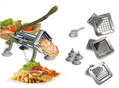 Tiger Chef Heavy Duty Commercial Grade French Fry Cutter with Suction Feet Complete Set - includes and ½ inch and 6 and 8 Wedge Blade and Pusher Blocks with Suction Feet and Cleaning Brush - Restaurant French Fry Cutter Sweet Potato Fries Complet Vegetable Chopper, Vegetable Slicer, Glass Cutters, Potato Slicer, Potato Cutter, Zucchini Sticks, French Fry Cutter, Neutral, Food Chopper