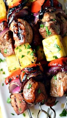 grilled pork steaks Marinated Teriyaki pork kabobs with fresh pineapple, bell pepper, and sweet red onion are the perfect summer combination! Kabob Recipes, Grilling Recipes, Pork Recipes, Cooking Recipes, Grilling Ideas, Bbq Ideas, Barbecue, Bbq Pork, Pork Ribs