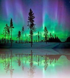 #Water #Reflection #Aurora #Northern #Lights, #Alaska