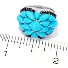 Gem Insider Sterling Silver Sleeping Beauty Turquoise & Black Spinel Ring ShopHQ.com