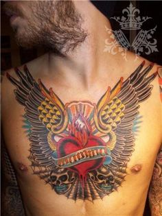 Skull Heart Wings Tattoo - http://99tattooideas.com/skull-heart-wings-tattoo/ #tattoo