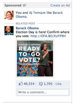 Obama FB homepage ad on Election Day