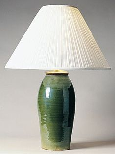 Dark Green Stoneware Lamp from Shaker Workshop