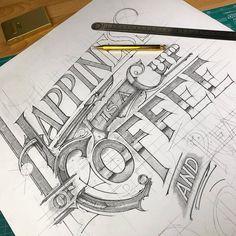 ☕️| ✏️ #coffee #wip #sketch #lettering #handlettering #handmadefont #handletter #pencil #details #50words #typeyeah #TYxCA #goodtype…