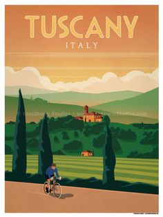 Tuscany Poster by IdeaStorm Studios Available for sale at ideastorm. - Tuscany Poster by IdeaStorm Studios Available for sale at ideastorm. Poster Art, Retro Poster, Kunst Poster, Art Deco Posters, Poster Prints, Vintage Travel Posters, Vintage Postcards, Vintage Advertisements, Vintage Ads