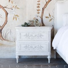 Bronte Nightstand, Weathered White | Eloquence, Inc.