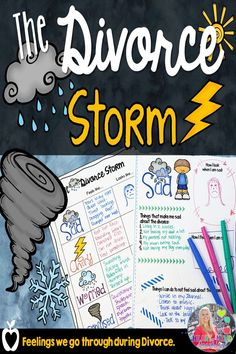The Divorce Storm, learn about the different feelings and emotions often brought on by experiencing changing families through divorce or separation. Perfect for small group counseling, school counseling, school counselors, SEL.