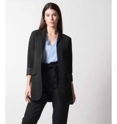 Σακάκι Smoking με Σατέν Μανσέτα - Μαύρο Blazer, Jackets, Dresses, Fashion, Down Jackets, Vestidos, Moda, Fashion Styles, Blazers