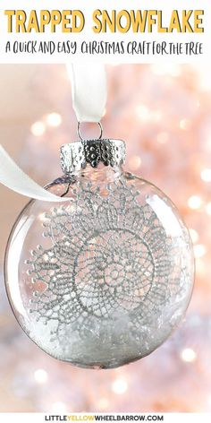 Here is a simple clear ornament idea that takes no time at all to put together. A perfect Christmas craft to make with the kids. These pretty snowflake ornaments add a touch of vintage charm to any Christmas tree. Diy Christmas Snowflakes, Snowflake Decorations, Christmas Ornament Crafts, Christmas Ornaments To Make, Xmas Crafts, Simple Christmas, Christmas Tag, Christmas Ideas, Handmade Christmas Crafts