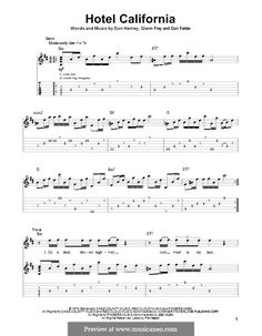 Hotel California (The Eagles): For guitar with tab by Don Felder, Don Henley, Glen Frey Easy Guitar Tabs, Music Theory Guitar, Easy Guitar Songs, Guitar Chords For Songs, Guitar Chord Chart, Guitar Sheet Music, Guitar Lessons, Piano Sheet, Ukulele Tabs