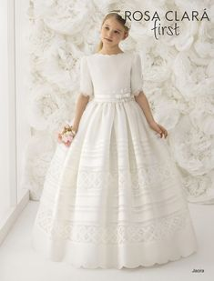 Rosa Clara Communion Dresses - First Communion dresses for 2018 These dresses are made to order on a week delivery schedule. Girls First Communion Dresses, First Communion Veils, Holy Communion Dresses, Flower Girls, Flower Girl Dresses, Bridesmaids, Bridesmaid Dresses, Different Dresses, Popular Dresses