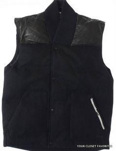 73a81c8d5bf3 NIKE NSW Men Small Black Wool Leather 90% Down Fill Warm Winter Vest Jacket  Black