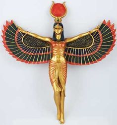 """An impressively detailed wall plaque of a Isis with full wings unfurled. Made from hand painted, cold cast resin. 12 1/4"""" x 11 3/4"""" x 2"""""""