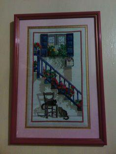 Flowered Stairs - cross stitch