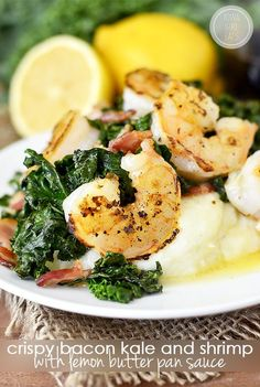 Gluten-free Crispy Bacon Kale and Shrimp with Lemon Butter Pan Sauce is a delicious and decadent-tasting dinner that's a cinchto make! | iowagirleats.com