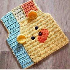 Modern Baby Vest Models – Knitting And We Crochet Baby Sweaters, Crochet Baby Clothes, Knit Crochet, Crochet Hats, Knitted Baby, Baby Knitting Patterns, Crochet Patterns, Baby Boy Vest, Cute Baby Dresses