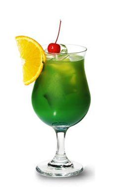 Melon Ecstasy (■1/2 oz Blue Curacao ■2 oz Melon Liqueur ■1/2 oz White Rum ■1 oz Pineapple juice ■Dash of lemon juice)