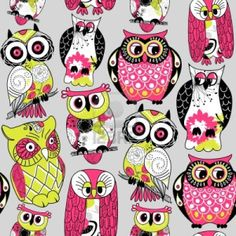 Stock Illustration Seamless and colourful owl pattern  Stock Photo - 13339768
