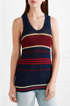 Étoile Isabel Marant - Dully Striped Open-knit Tank - Storm blue - FR40
