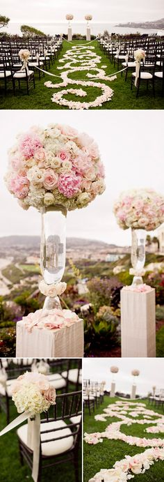 White & PInk Ceremony Flowers