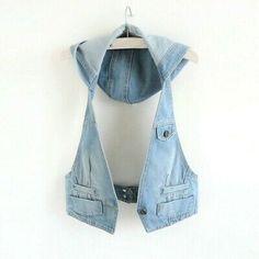 (Ad)eBay - Women Hooded Denim Waistcoat Vest Gilet Jacket Jeans Tank Tops Coat Halter Loose Denim Waistcoat, Jacket Jeans, Sleeveless Jean Jackets, Vest Coat, Jackets For Women, Clothes For Women, New Fashion Trends, Korean Fashion, Button Type