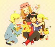 Ash Ketchum and Pikachu with their Kalos friends ^.^ <3