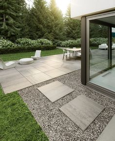 Looking for stylish, refined and well-designed pavers? Try Techo-Bloc's beautiful Industria Smooth pavers and give sleekness to your landscape. Patio Slabs, Concrete Patios, Patio Stone, Flagstone Patio, Concrete Slab, Stamped Concrete Walkway, Grass Pavers, Concrete Backyard, Stone Walkways