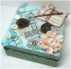*to use up some of the old sewing notions* Altered Box turquoise, buttons Altered Cigar Boxes, Altered Tins, Altered Art, Scrapbook Box, Scrapbook Paper Crafts, Decoupage Vintage, Vintage Crafts, Decoupage Ideas, Organize Plastic Containers