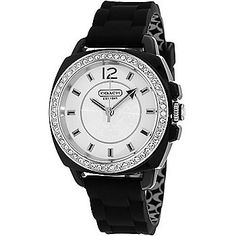 Coach Womens Boyfriend Quartz Crystal Accented Rubber Strap Watch