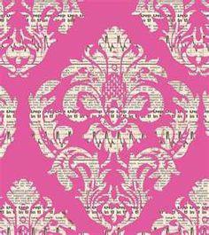 interesting pink wallpaper - stencil pattern over news print