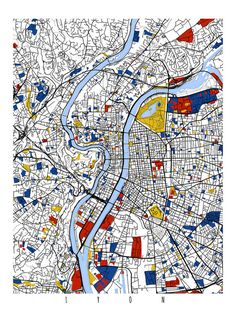 Map of Lyon to Mondrian, beautiful idea! Piet Mondrian, Mondrian Kunst, France Map, Lyon France, Urban Mapping, Bel Art, Wall Art Prints, Poster Prints, Stoff Design