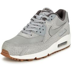 Nike Air Max 90 Premium (1.338.135 IDR) ❤ liked on Polyvore featuring shoes, grip shoes, nike, grey shoes, fleece-lined shoes and genuine leather upper shoes